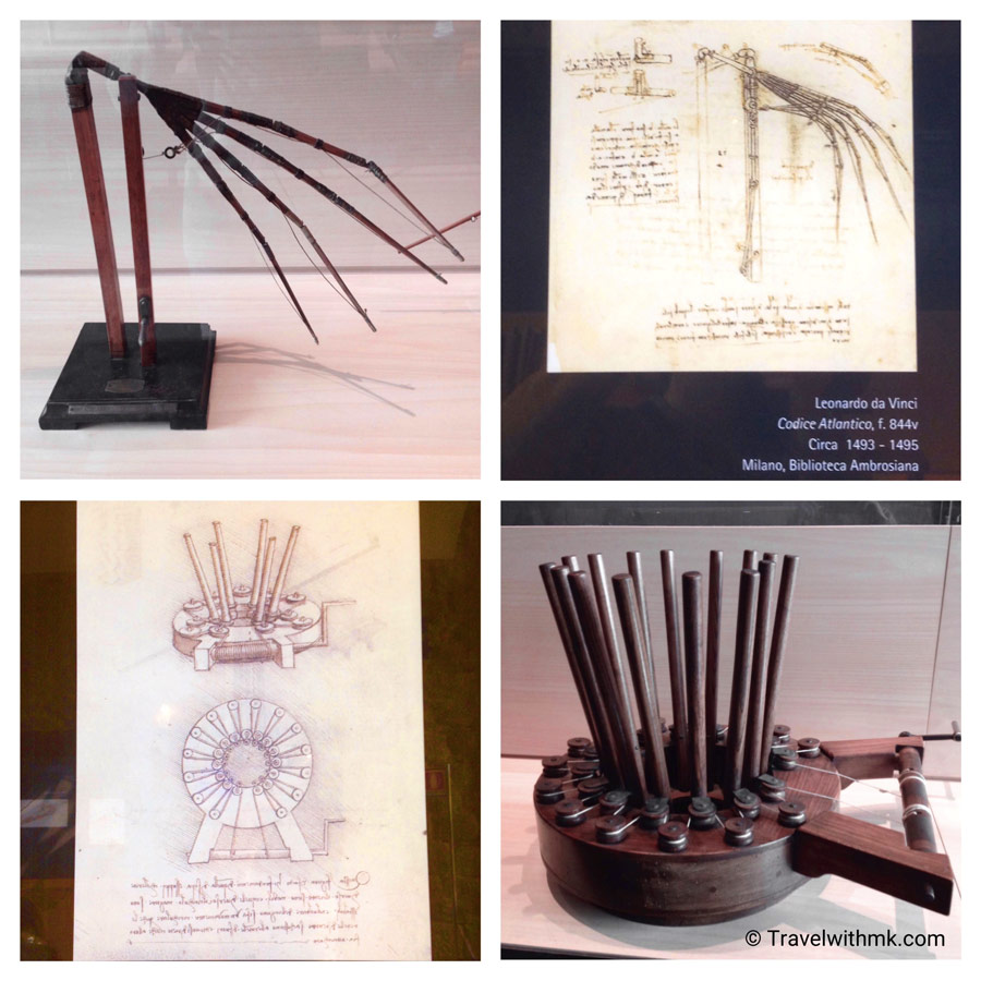 Drawings by Leonardo da Vinci and models of his inventions at the Museo Leonardiano in Vinci, Tuscany, Italy © Travelwithmk.com