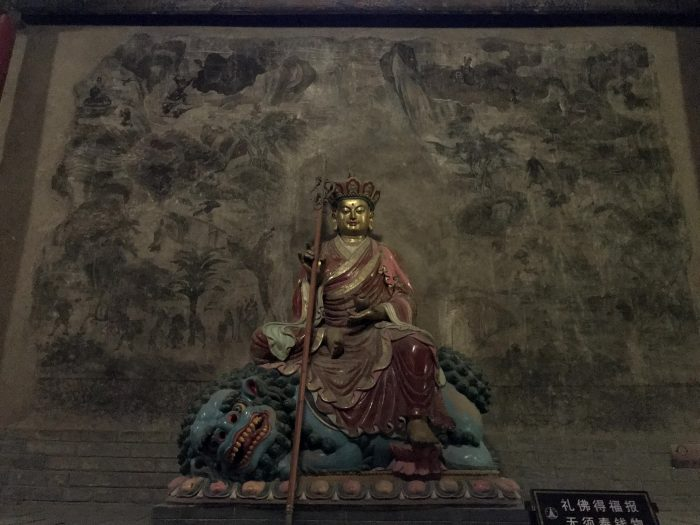 Statue of Xuanzang and mural depicting the Journey to the West, Dafo Temple, Zhangye © Travelwithmk.com